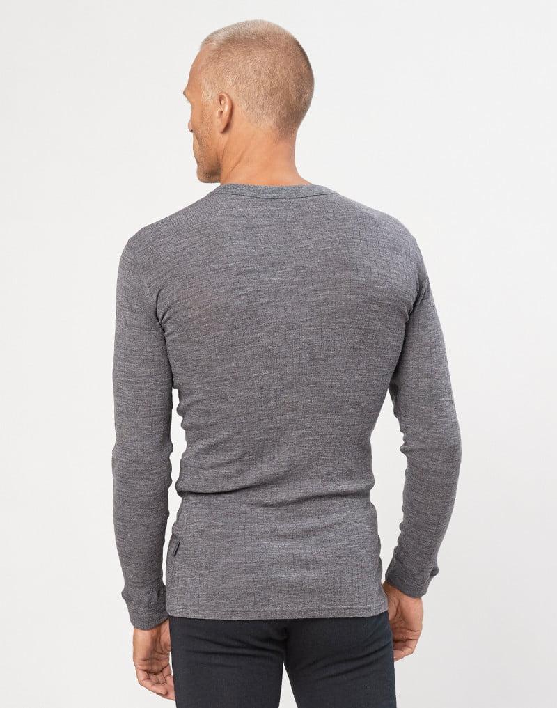 Bluză cu mânecă lungă dark gray din lână merinos organică rib pentru bărbaţi Dilling 6