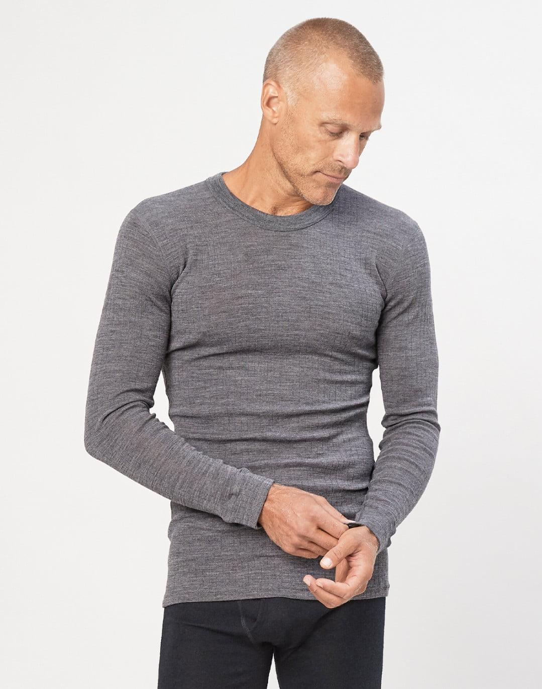 Bluză cu mânecă lungă dark gray din lână merinos organică rib pentru bărbaţi Dilling 5