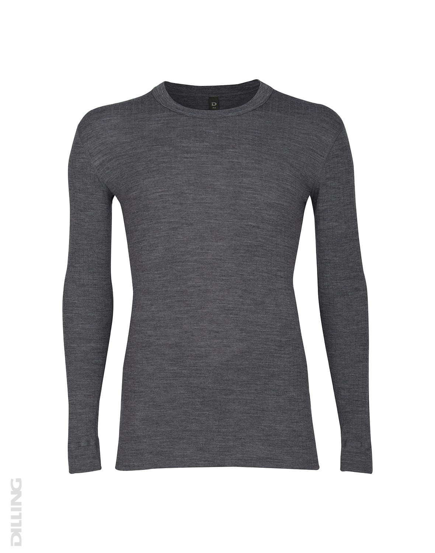 Bluză cu mânecă lungă dark gray din lână merinos organică rib pentru bărbaţi Dilling