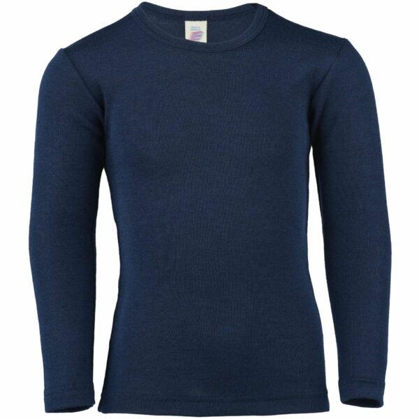 Bluză cu mânecă lungă marine din lână merinos şi mătase organică pentru copii Engel
