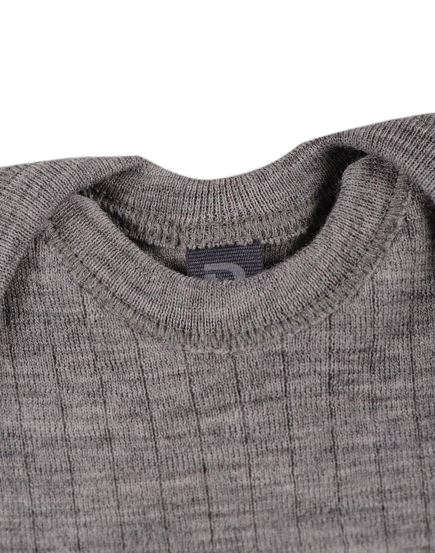 Body cu mânecă lungă heather gray din lână merinos organică rib pentru bebeluși Dilling 2