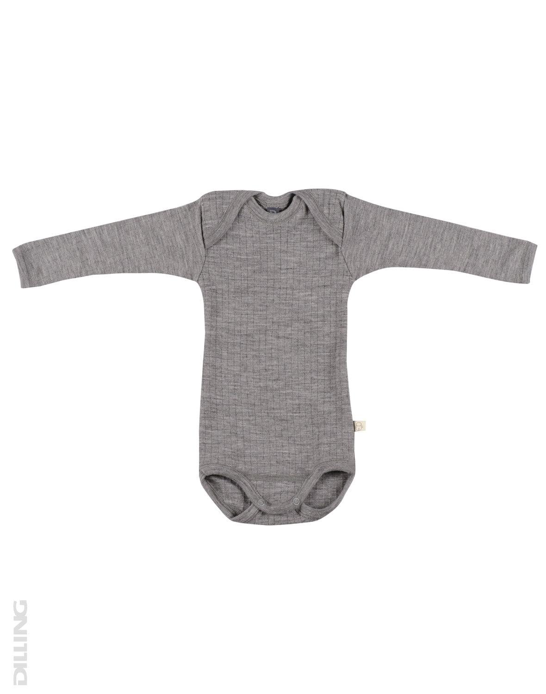 Body cu mânecă lungă heather gray din lână merinos organică rib pentru bebeluși Dilling