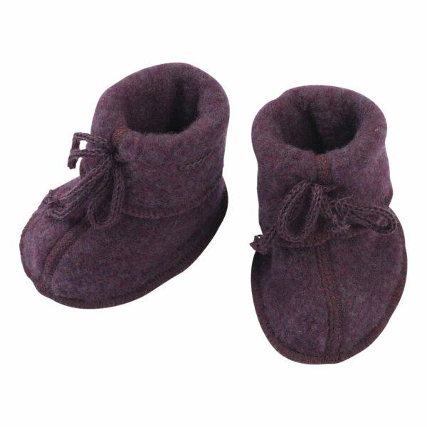 Botoşei pentru bebeluși din lână merinos fleece organică Lilac Melange Engel