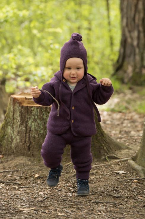 Căciulă din lână merinos fleece organică pentru copii Lilac Melange Engel 2