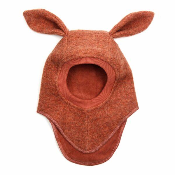 Cagulă din lână merinos boiled wool Bunny Rosewood HUTTELiHUT