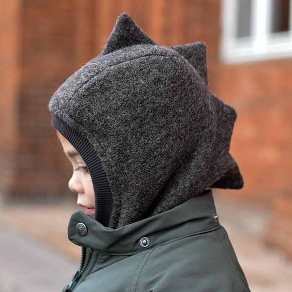 Cagulă din lână merinos boiled wool Dino Dark Grey HUTTELiHUT 4