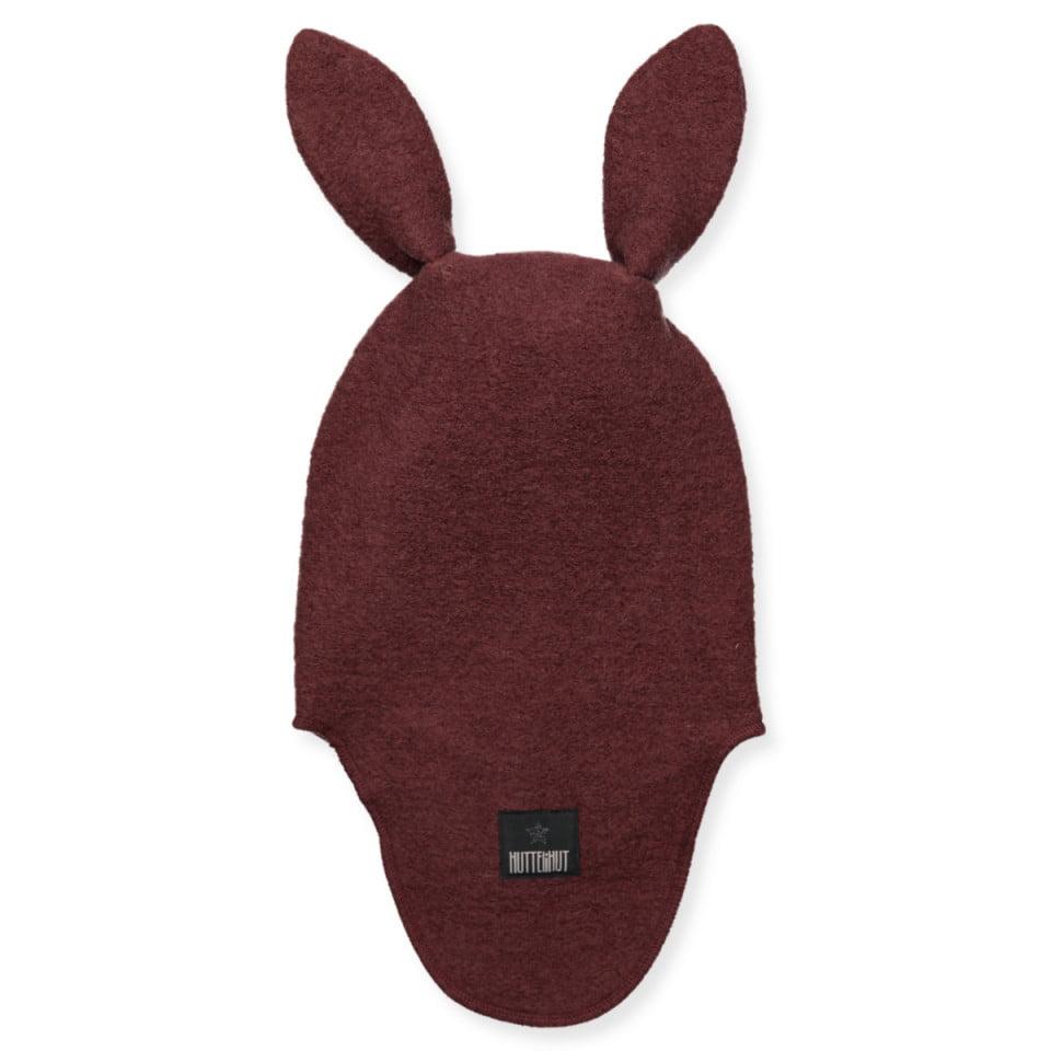 Cagulă dublată din lână merinos boiled wool Bunny Wine HUTTELiHUT 1
