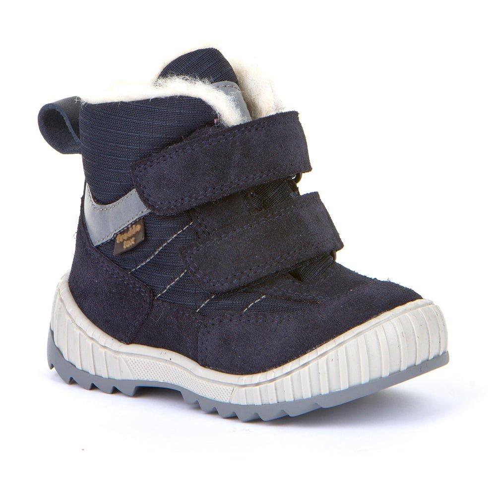 Cizme impermeabile cu velcro din piele căptuşite cu lână naturală şi talpă flexibilă dark blue Froddo