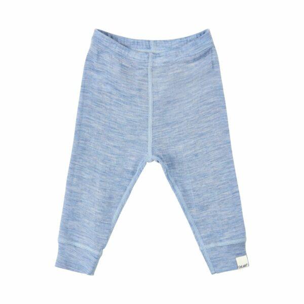 Pantaloni colanți din lână merinos dusty blue melange CeLaVi