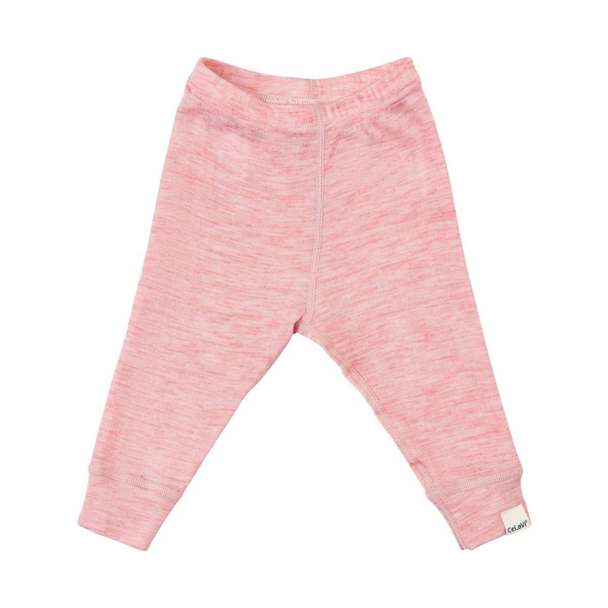 Pantaloni colanți din lână merinos silver rosa melange CeLaVi