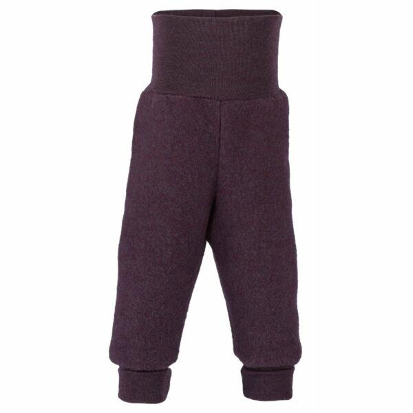 Pantaloni cu bandă lată purple melange din lână merinos fleece pentru copii Engel