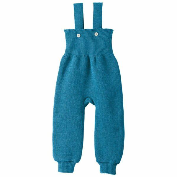 Pantaloni salopetă blue din lână merinos Disana
