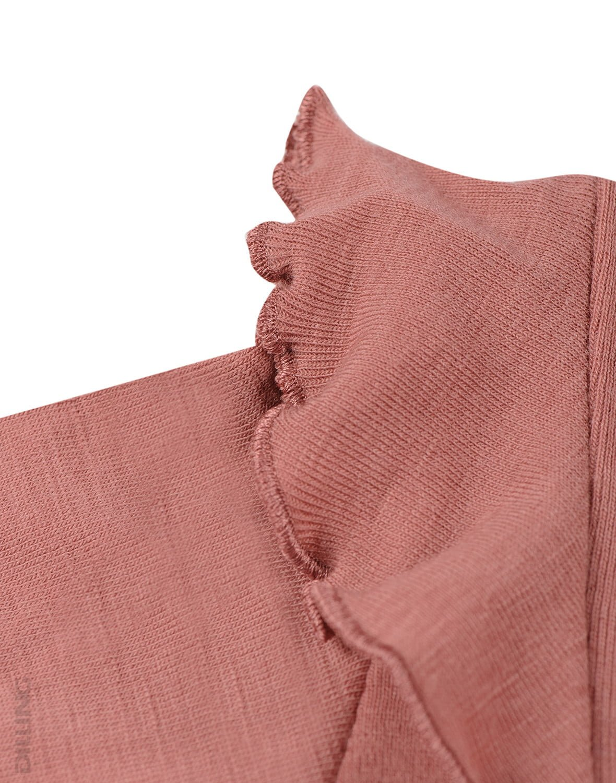 Rochie dark pink din lână merinos organică cu volănaşe pentru fetiţe Dilling 2