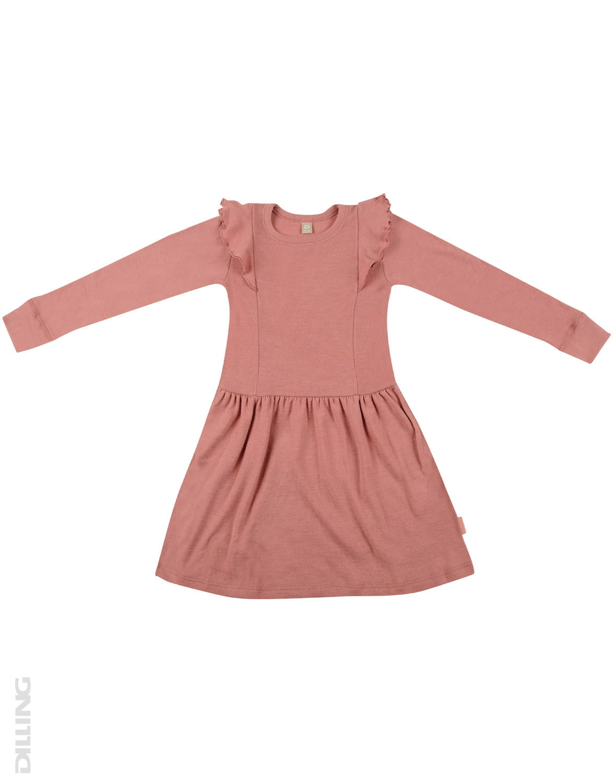 Rochie dark pink din lână merinos organică cu volănaşe pentru fetiţe Dilling