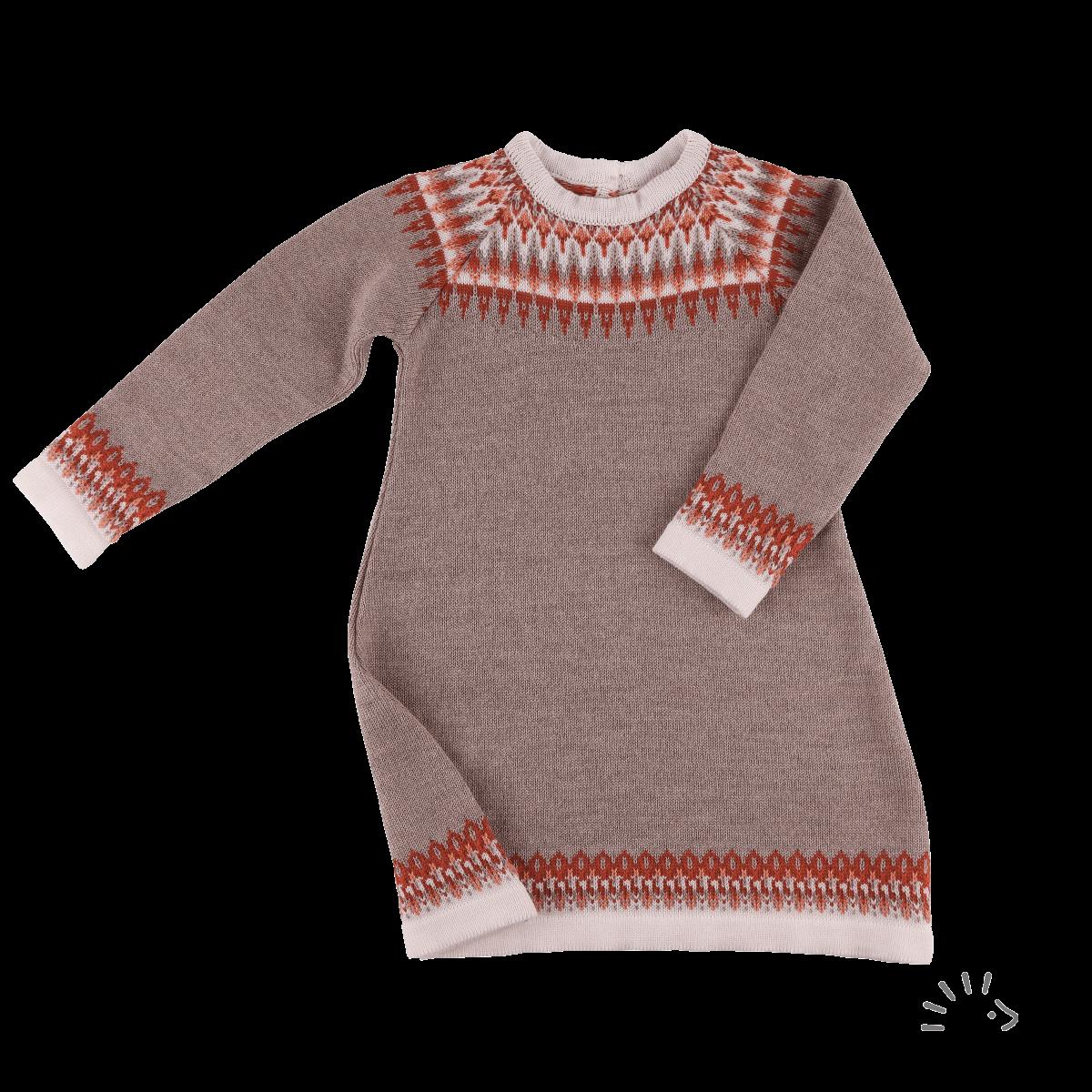 Rochie din lână merinos organică tricotată beige melange Nora Iobio Popolini
