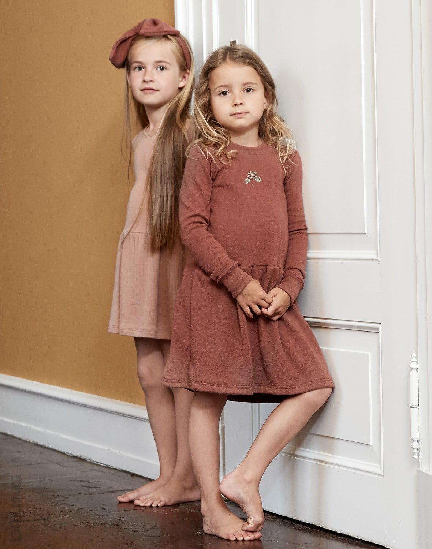 Rochie rouge din lână merinos organică pentru fetiţe Dilling 1