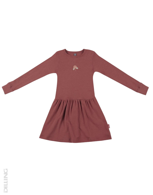 Rochie rouge din lână merinos organică pentru fetiţe Dilling