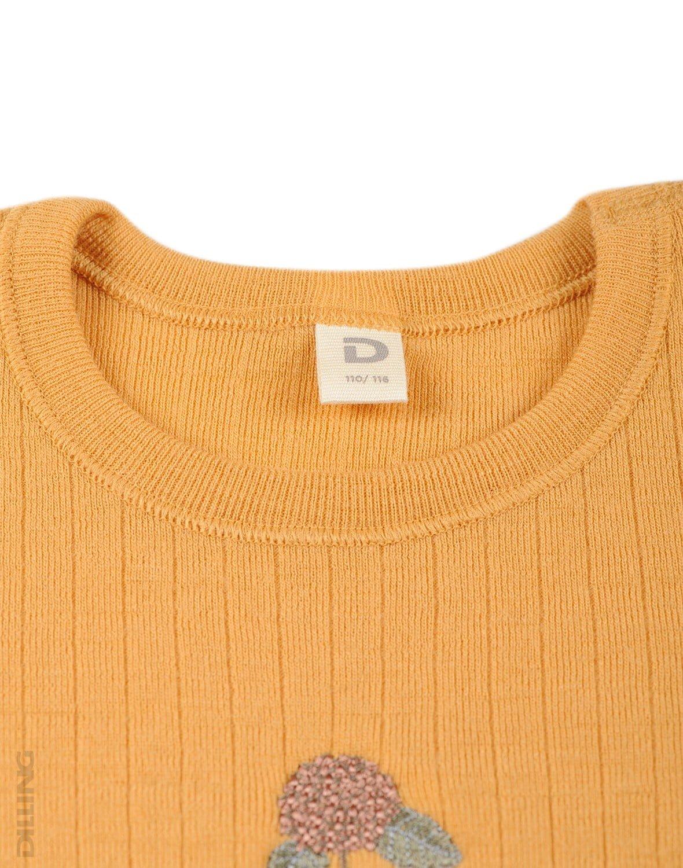 Rochie yellow din lână merinos organică rib pentru fetiţe Dilling 2