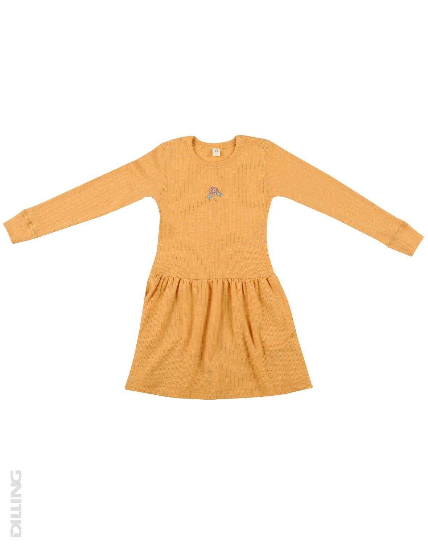 Rochie yellow din lână merinos organică rib pentru fetiţe Dilling