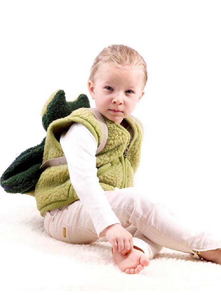 Vestă copii din lână merinos green pea Carpathian Alwero