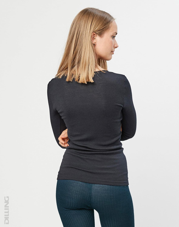 Bluză cu mânecă lungă black din lână merinos organică pentru femei Dilling 2