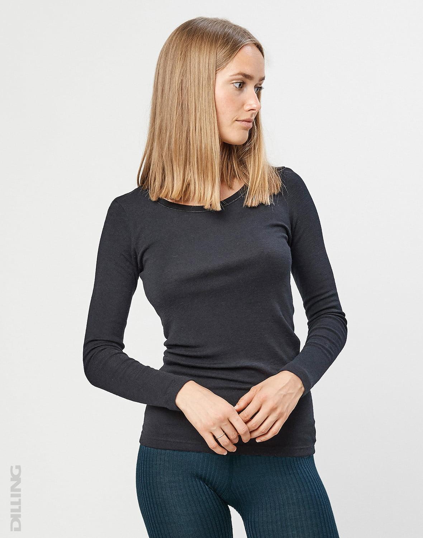 Bluză cu mânecă lungă black din lână merinos organică pentru femei Dilling 3