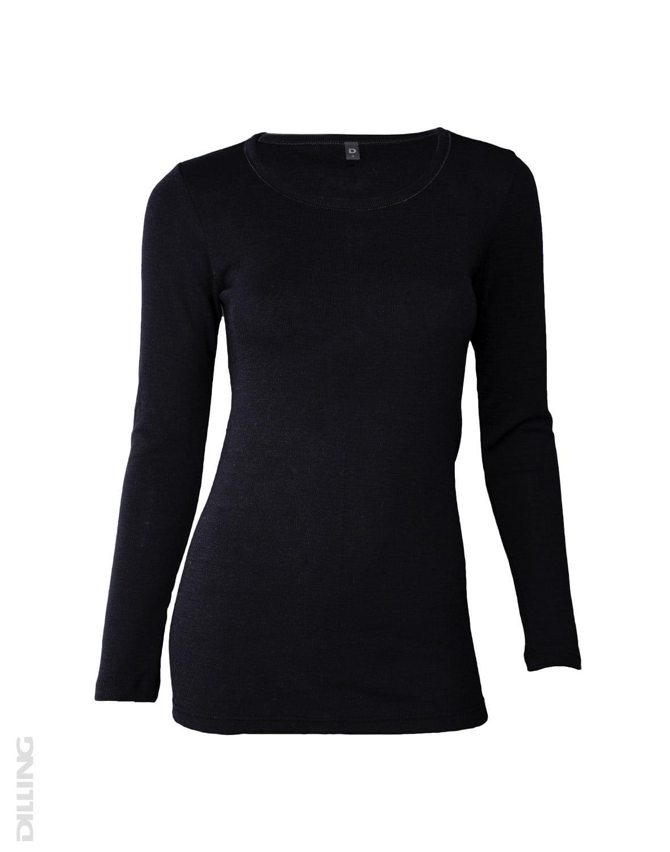 Bluză cu mânecă lungă black din lână merinos organică pentru femei Dilling