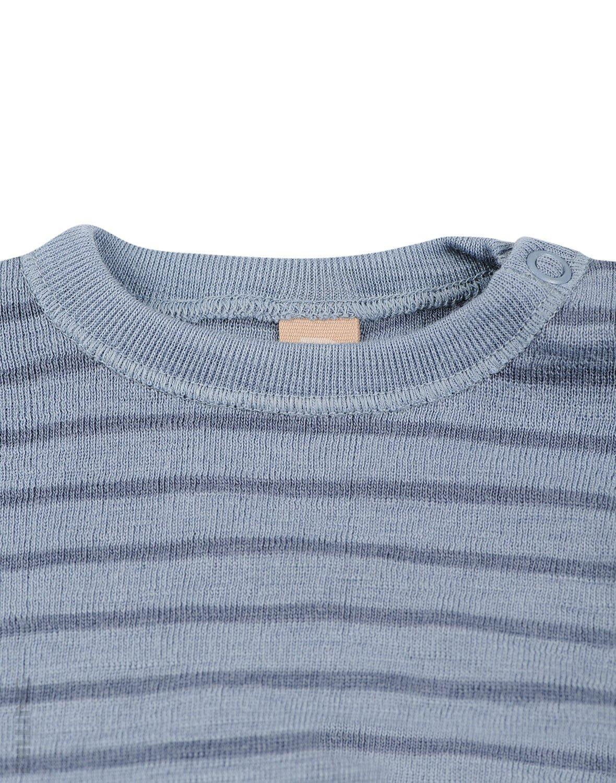 Bluză cu mânecă lungă blue stripes din lână merinos organică pentru bebeluşi Dilling 1