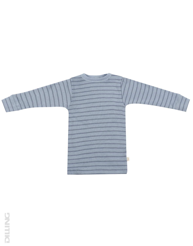 Bluză cu mânecă lungă blue stripes din lână merinos organică pentru bebeluşi Dilling