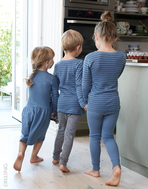 Bluză cu mânecă lungă blue stripes din lână merinos organică pentru copiii Dilling 1