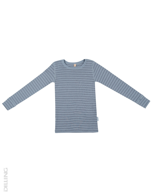 Bluză cu mânecă lungă blue stripes din lână merinos organică pentru copiii Dilling