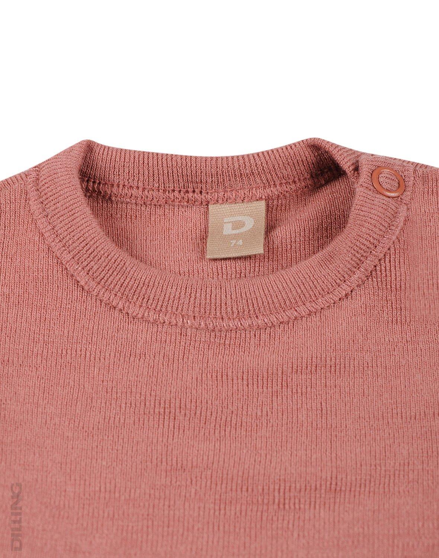 Bluză cu mânecă lungă dark pink din lână merinos organică pentru bebeluşi Dilling 1