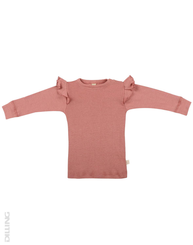 Bluză cu mânecă lungă dark pink din lână merinos organică pentru bebeluşi Dilling