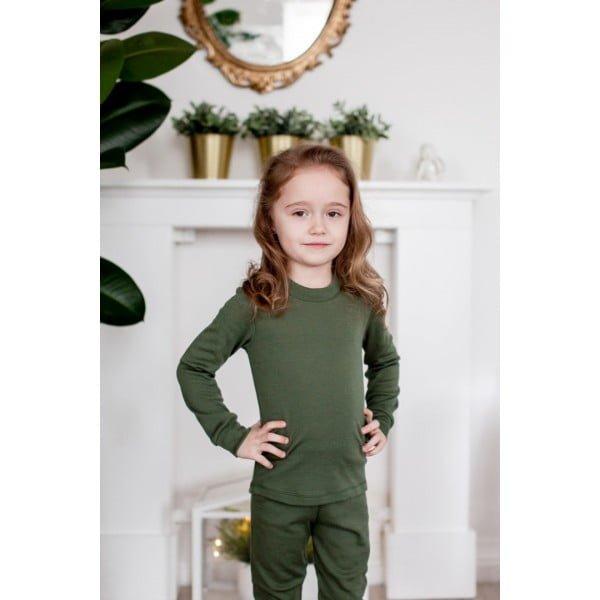 Bluză cu mânecă lungă din lână merinos organică pentru copii dark moss Green Rose