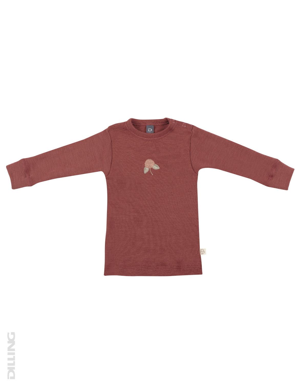Bluză cu mânecă lungă rouge din lână merinos organică pentru bebeluşi Dilling