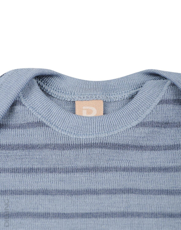 Body cu mânecă lungă blue stripes din lână merinos organică pentru bebeluși Dilling 1