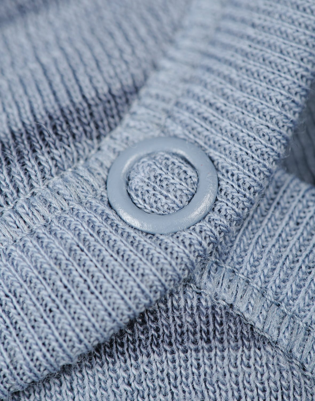 Body cu mânecă lungă blue stripes din lână merinos organică pentru bebeluși Dilling 3