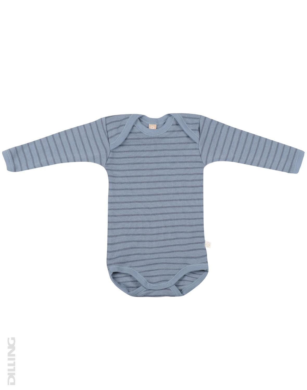 Body cu mânecă lungă blue stripes din lână merinos organică pentru bebeluși Dilling