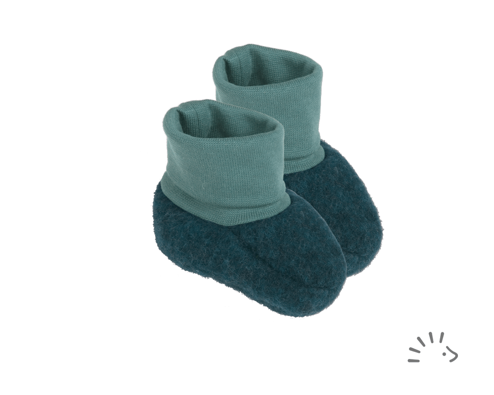Botoşei pentru bebeluși din lână merinos fleece organică emerald Iobio Popolini