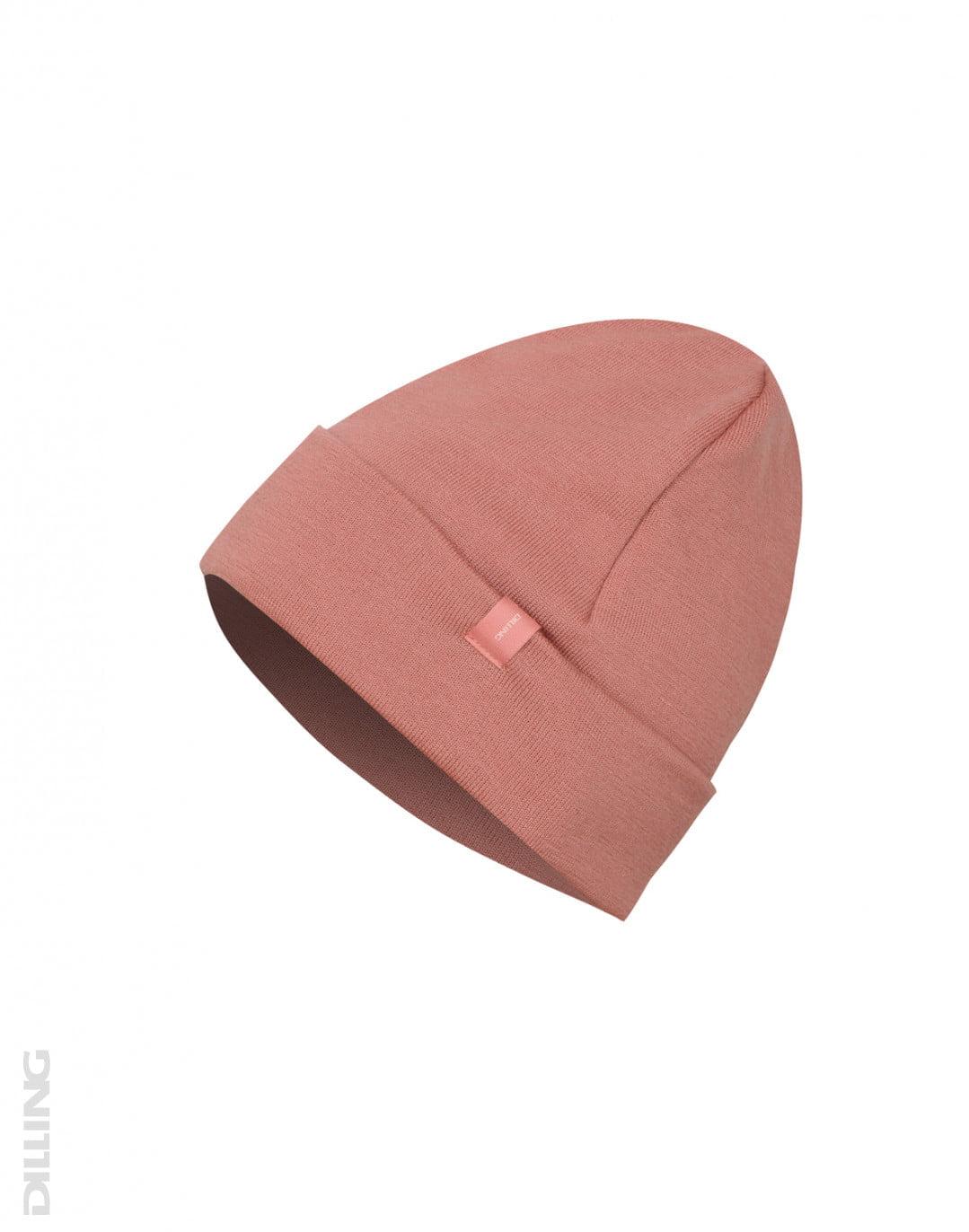Căciulă beanie din lână merinos organică terry dark pink Dilling
