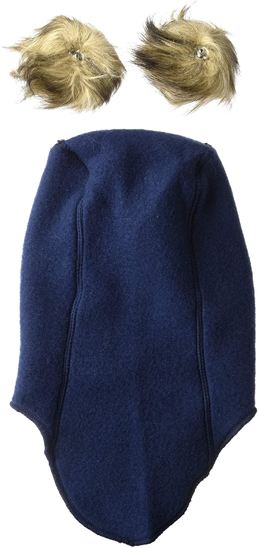 Cagulă cu pompon din lână merinos fleece blue nights Mikk-line 2