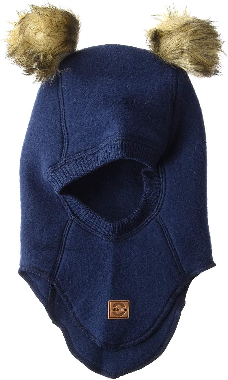 Cagulă cu pompon din lână merinos fleece blue nights Mikk-line