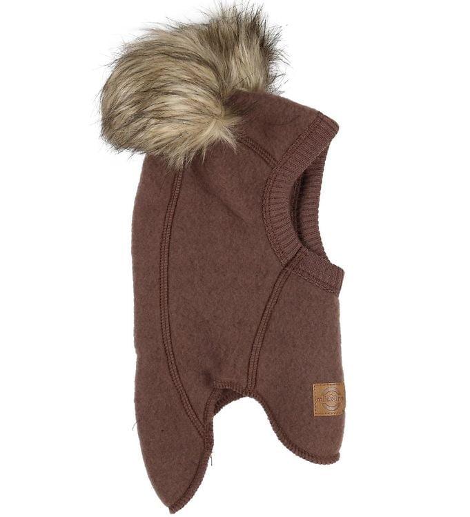 Cagulă cu pompon din lână merinos fleece puce brown Mikk-line 2