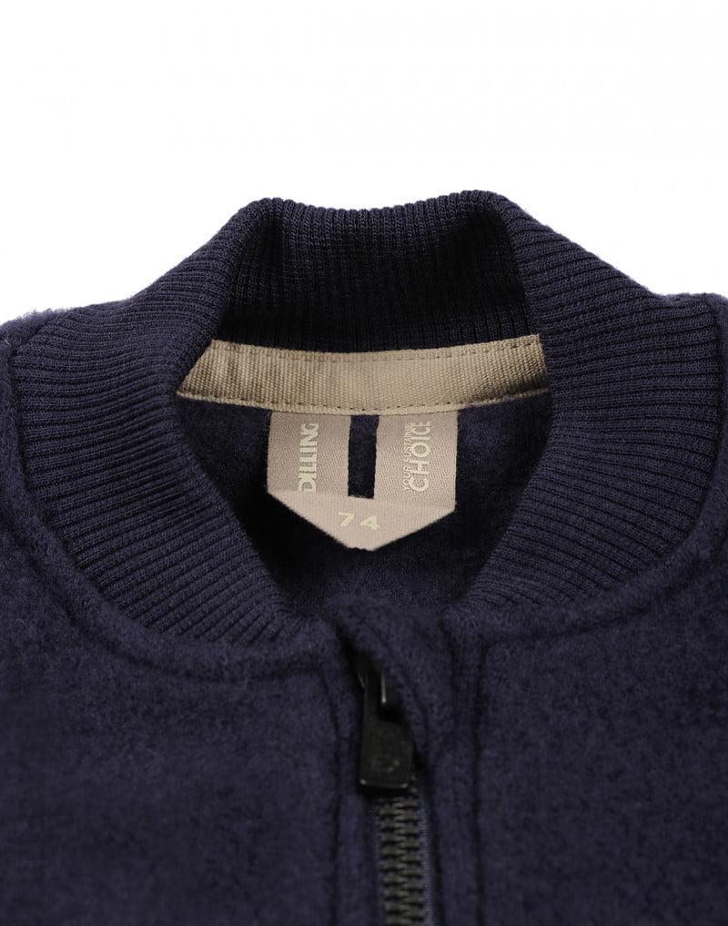 Jachetă din lână merinos organică fleece pentru copii Blue Dilling 2