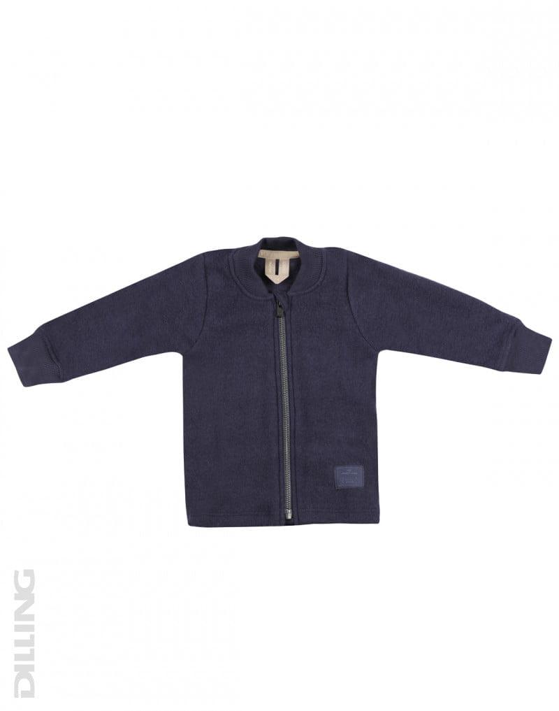 Jachetă din lână merinos organică fleece pentru copii Blue Dilling