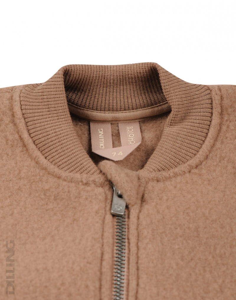 Jachetă din lână merinos organică fleece pentru copii cinnamon Dilling 2