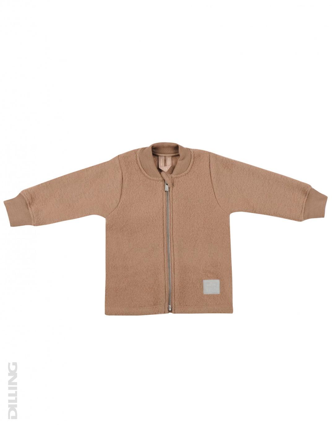 Jachetă din lână merinos organică fleece pentru copii cinnamon Dilling
