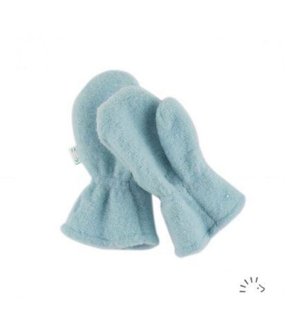 Mănuși groase pentru copii din lână merinos organică fleece ice blue Iobio Popolini