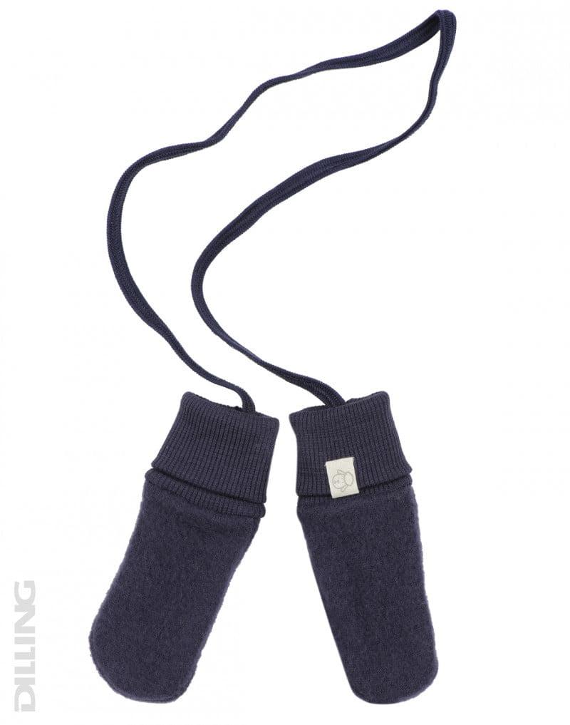 Mănuși pentru bebeluși din lână merinos organică fleece Blue Dilling