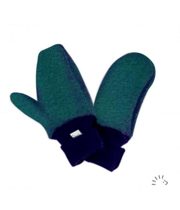 Mănuși pentru copii din lână merinos organică boiled wool emerald Iobio Popolini
